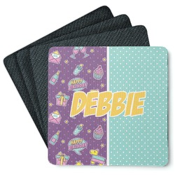 Pinata Birthday 4 Square Coasters - Rubber Backed (Personalized)