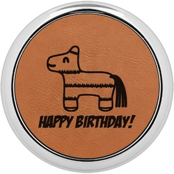 Pinata Birthday Leatherette Round Coaster w/ Silver Edge - Single or Set (Personalized)