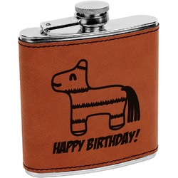 Pinata Birthday Leatherette Wrapped Stainless Steel Flask (Personalized)