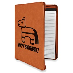 Pinata Birthday Leatherette Zipper Portfolio with Notepad (Personalized)