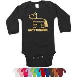 Pinata Birthday Foil Bodysuit - Long Sleeves - Gold, Silver or Rose Gold (Personalized)