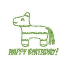 "Pinata Birthday Glitter Iron On Transfer - Up to 15""x15"" (Personalized)"
