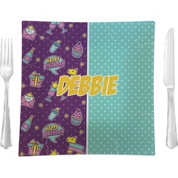 "Pinata Birthday Glass Square Lunch / Dinner Plate 9.5"" - Single or Set of 4 (Personalized)"