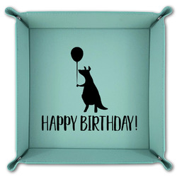 Animal Friend Birthday Teal Faux Leather Valet Tray (Personalized)