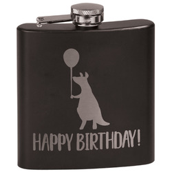 Animal Friend Birthday Black Flask Set (Personalized)