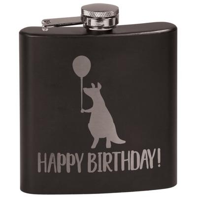 Animal Friend Birthday Black Flask (Personalized)