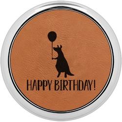 Animal Friend Birthday Leatherette Round Coaster w/ Silver Edge - Single or Set (Personalized)