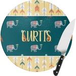 Animal Friend Birthday Round Glass Cutting Board (Personalized)