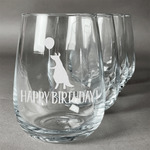 Animal Friend Birthday Stemless Wine Glasses (Set of 4) (Personalized)