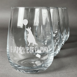 Animal Friend Birthday Stemless Wine Glasses (Set of 4) (Personalized)