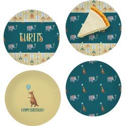 "Animal Friend Birthday Set of 4 Glass Appetizer / Dessert Plate 8"" (Personalized)"