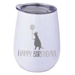 Animal Friend Birthday Stemless Wine Tumbler - 5 Color Choices - Stainless Steel  (Personalized)