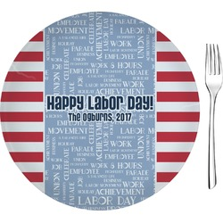 """Labor Day Glass Appetizer / Dessert Plates 8"""" - Single or Set (Personalized)"""