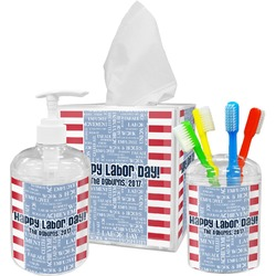 Labor Day Acrylic Bathroom Accessories Set w/ Name or Text