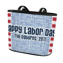 Labor Day Bucket Tote w/ Genuine Leather Trim (Personalized)