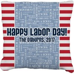 Labor Day Faux-Linen Throw Pillow (Personalized)