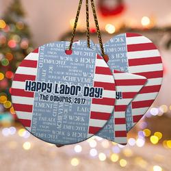 Labor Day Ceramic Ornament w/ Name or Text