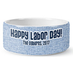 Labor Day Ceramic Dog Bowl (Personalized)