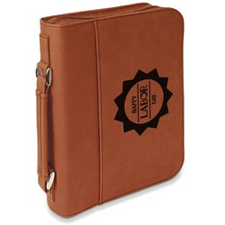 Labor Day Leatherette Bible Cover with Handle & Zipper - Large- Single Sided (Personalized)