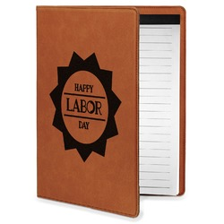 Labor Day Leatherette Portfolio with Notepad - Small - Single Sided (Personalized)