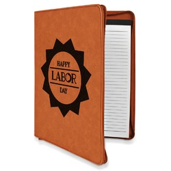 Labor Day Leatherette Zipper Portfolio with Notepad (Personalized)