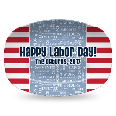Labor Day Plastic Platter - Microwave & Oven Safe Composite Polymer (Personalized)