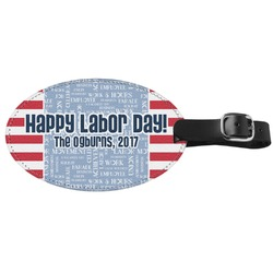 Labor Day Genuine Leather Oval Luggage Tag (Personalized)