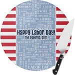 Labor Day Round Glass Cutting Board (Personalized)
