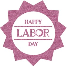 Labor Day Glitter Sticker Decal - Custom Sized (Personalized)