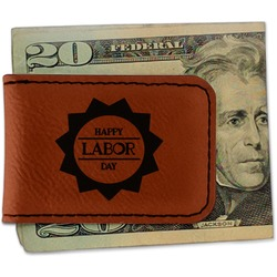 Labor Day Leatherette Magnetic Money Clip (Personalized)
