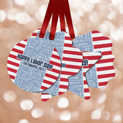 Labor Day Metal Ornaments - Double Sided w/ Name or Text