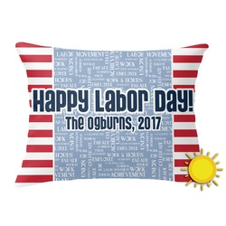 Labor Day Outdoor Throw Pillow (Rectangular) (Personalized)