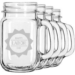 Labor Day Mason Jar Mugs (Set of 4) (Personalized)