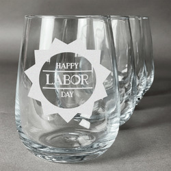 Labor Day Stemless Wine Glasses (Set of 4) (Personalized)