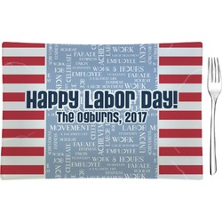 Labor Day Rectangular Glass Appetizer / Dessert Plate - Single or Set (Personalized)
