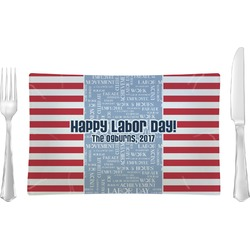Labor Day Rectangular Glass Lunch / Dinner Plate - Single or Set (Personalized)