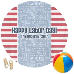 Labor Day Round Beach Towel (Personalized)