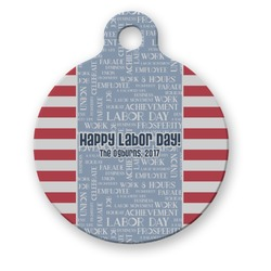 Labor Day Round Pet Tag (Personalized)