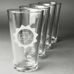 Labor Day Beer Glasses (Set of 4) (Personalized)