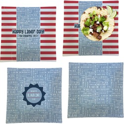 """Labor Day Set of 4 Glass Square Lunch / Dinner Plate 9.5"""" (Personalized)"""