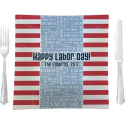 "Labor Day 9.5"" Glass Square Lunch / Dinner Plate- Single or Set of 4 (Personalized)"