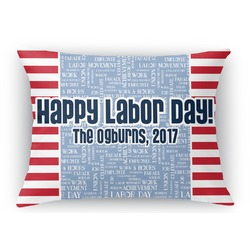 Labor Day Rectangular Throw Pillow Case (Personalized)