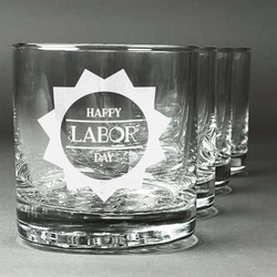 Labor Day Whiskey Glasses (Set of 4) (Personalized)