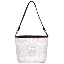 Wedding People Bucket Bag w/ Genuine Leather Trim (Personalized)