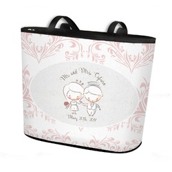 Wedding People Bucket Tote w/ Genuine Leather Trim (Personalized)