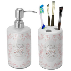 Wedding People Bathroom Accessories Set (Ceramic) (Personalized)