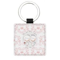 Wedding People Genuine Leather Rectangular Keychain (Personalized)