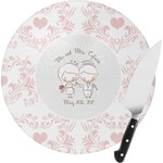 Wedding People Round Glass Cutting Board (Personalized)