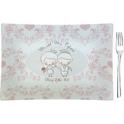 Wedding People Rectangular Glass Appetizer / Dessert Plate - Single or Set (Personalized)