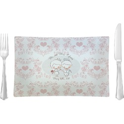 Wedding People Glass Rectangular Lunch / Dinner Plate - Single or Set (Personalized)